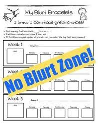 Blurting Out Behavior Chart Blurt Bracelets Kindergarten