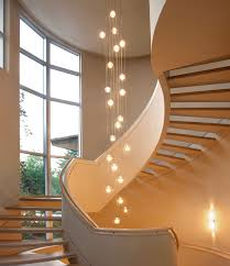 in stair lighting. Use Large Globe Light Bulbs To Make A Statement In Stairway Ceiling Fixtures. #stairlighting Stair Lighting