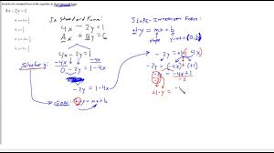 standard form of linear equation graph rewrite into slope intercept maxresde standard form of linear equation