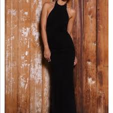 New Black Abyss By Abby Backless High Neck Gown Nwt