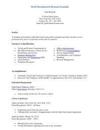 front office assistant resume objective hotel receptionist example gallery of objective for receptionist resume