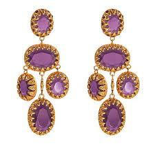asa jewelry purple stone goldtone chandelier earrings