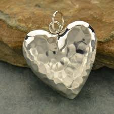 sterling silver hammered puffed heart pendant