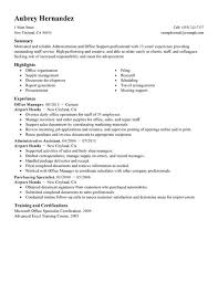 Examples Of Administrative Resumes Enchanting Office Job Resume Templates Administrative Assistant Example Free