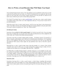 Tips On How To Write A Good Resume Free Resume Example And