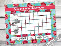 Chore Chart Printable Shabby Chic Art Reward Chart Responsibility Chart Weekly Chore Chart Behavior Chart Chart For Girls You Edit Pdf