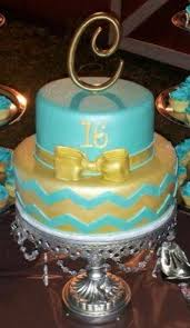 16th Birthday Cake With Tiffany Blue Chevron Print Cake Is Covered