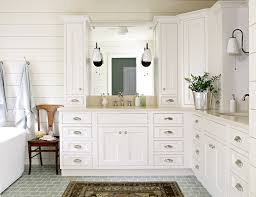 beautiful bathroom with white corner dual vanity paired with polished nickel hardware undermount sinks traditional style faucets along with upper cabinets