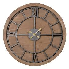 large wooden round rustic wall clock