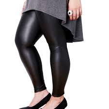 plus size faux leather leggings in black or silver free returns