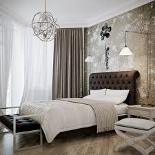 gray fabric bedding set crystal chandelier design bedroom lighting ideas white wooden cabinet 4 drawer under
