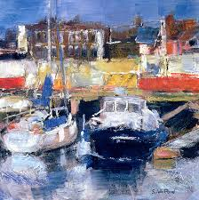 boat painting toft harbour view by sylvia paul