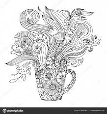 Kleurplaat Voor Volwassenen Met Een Beker En Bloemen Stockvector