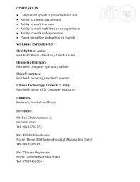 Computer Operator Cv Resume From Anayo Umeakunne In Owerri-Municipal ...