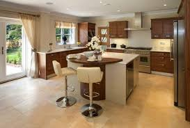 a contemporary white and wood kitchen with formica countertops and light beige tile flooring french l shaped kitchen remodel before and after