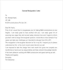 Letter Of Resignation Samples Template