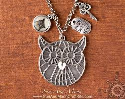 whimsical owl pendant making kit antique silver handmade jewelry design project