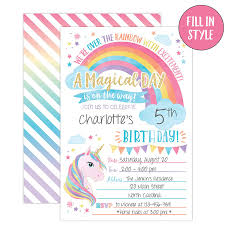 Your Main Event Prints Unicorn Birthday Invitation Unicorn Party Invite 20 Fill In Style With Envelopes