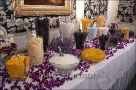 purple black yellow and white candy buffet