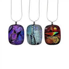 small unique dichroic glass pendant