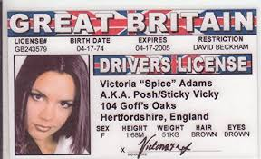 Fans Adams Fake Novelty Wantitall I Spice For License The Drivers Girls Aka Posh Victoria d Identification Girl
