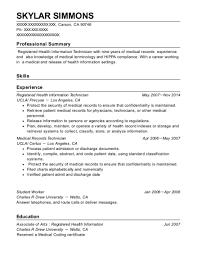 Medical Records Technician Resume Simple Ucla Registered Health Information Technician Resume Sample Carson