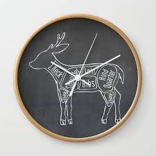 Deer Butcher Chart Venison Butcher Diagram Deer Meat Chart Wall Clock By Kitchenbathprints