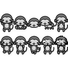 モノクロでかわいい猿の無料イラスト商用フリー オイデ43