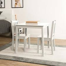 tot tutors daylight 3 piece white kids table and chair set