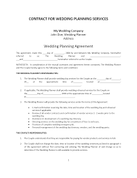 Best Wedding Planning Services Wedding Planner Contract Template