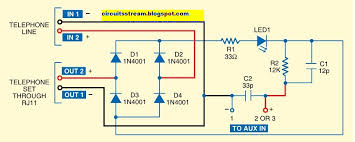 telephone and intercoms circuit diagrams and schematic in land line rings primarily use rj11 wiring which has wires tip and ring while tip is the positive wire ring is the negative