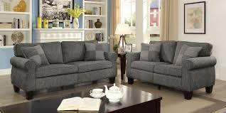 rhian dark gray linen fabric sofa loveseat set w accent pillows