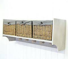Wall Coat Rack With Baskets Fascinating Coat Hook Wall Shelf Wall Shelf Storage Unit With Lined Willow