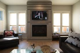 denver venetian plaster fireplace with walnut trim