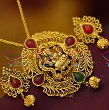 ps2974 antique nagas chain pendant sets south indian temple jewellery