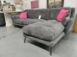image is loading plush grey right hand velour corner sofa with