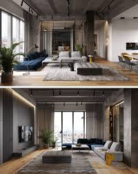 Modern Apartment Design Interior A Glass Wall Separates The Living Room From The Home Office