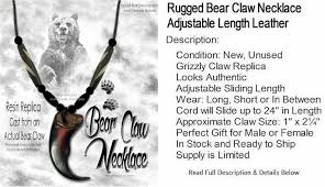 bear claw necklace each grizzly claw is a synthetic resin replica