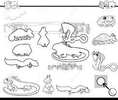 塗り絵の爬虫類及び両生類の動物キャラクターで幼児教育活動の黒と白の漫画イラスト