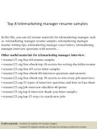 Telemarketing Resumes Top 8 Telemarketing Manager Resume Samples