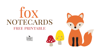 Free Printable Note Cards Free Printable Fox Note Cards Stationery Five Spot Green Living
