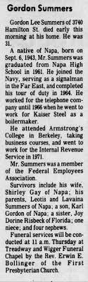 Gordon Lee Summers Obituary - Newspapers.com
