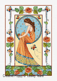 Art Deco Cross Stitch Charts Art Deco Rose Lady Cross Stitch Pattern By Lesley Teare Designs