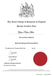 Certificates And Evaluations Royal College Of Surgeons