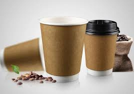 8oz double wall paper cup with kraft paper coffee cup