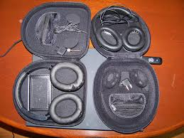 bose noise cancelling headphones case. me wearing bauhn headphones inside the case of noise canceling showing cable and connectors bose cancelling a