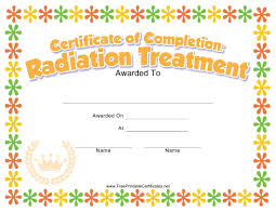 Radiation Treatment Completion Certificate Template For Kids