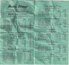 Martin String Chart Vintage Martin Ukulele String Chart From 1950 Fan Guitar
