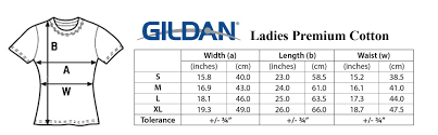 Gildan Size Chart Ladies Barang Baik Tee Print On Demand