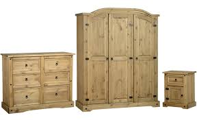 natural pine bedroom furniture with three door wardrobe and six drawers dressing table and one door one drawer side bed table